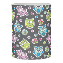 pattern of cartoon owls flameless candle
