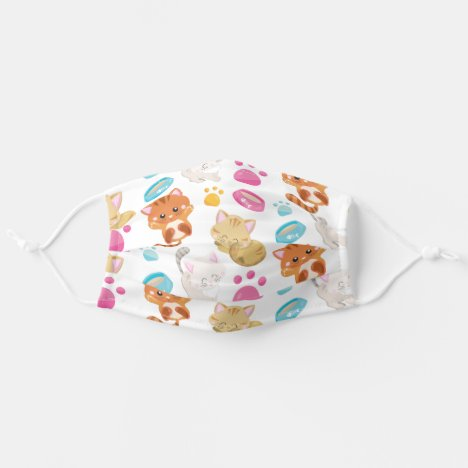 Pattern Of Cats, Colorful Cats, Cat Bowls, Paws Cloth Face Mask