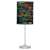 pattern of colorful names on black desk lamp