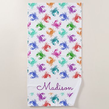 Beach Themed Pattern Of Crabs Beach Towel
