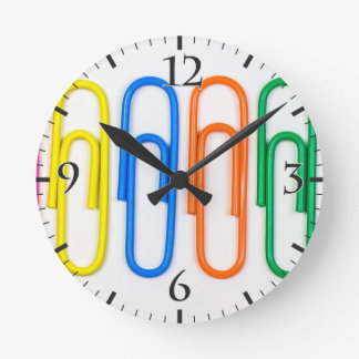 pattern of decorative colored clips round clock