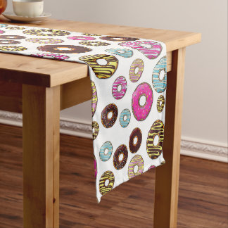 Pattern Of Donuts, Colorful Donuts - Pink Blue Medium Table Runner