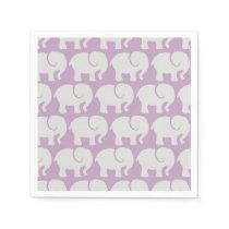 Pattern Of Elephants, Elephant Design - Purple Napkin