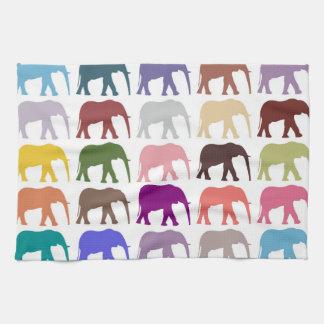 Pattern Of Elephants - Pink Purple Green Blue Kitchen Towel