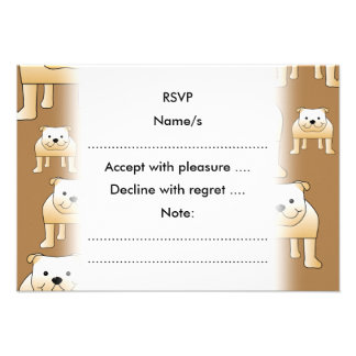 Pattern of Fawn English Bulldogs on Brown Personalized Announcements