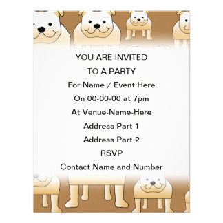 Pattern of Fawn English Bulldogs on Brown Personalized Invite