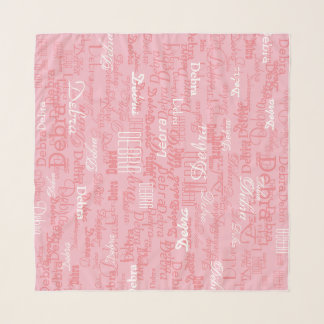 pattern of girl name on pink scarf