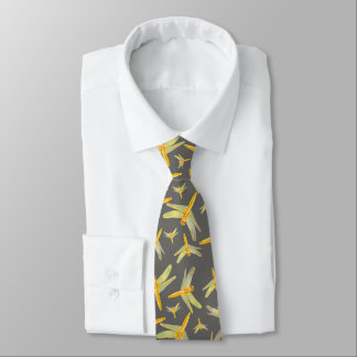 Pattern of Gold Dragonflies Tie