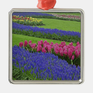 Pattern of Grape Hyacinth, tulips, and Metal Ornament