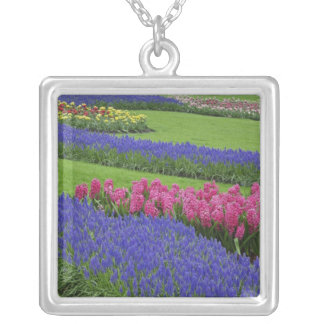 Pattern of Grape Hyacinth, tulips, and Silver Plated Necklace