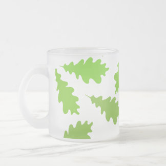 Pattern of Green Leaves. 10 Oz Frosted Glass Coffee Mug