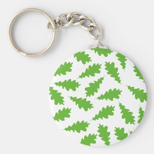 Pattern of Green Leaves. Basic Round Button Keychain