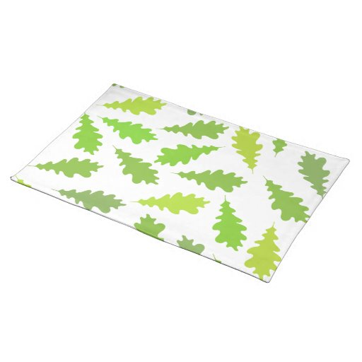 Pattern of Green Leaves. Cloth Placemat