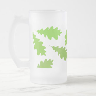Pattern of Green Leaves. Frosted Glass Beer Mug