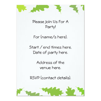 Pattern of Green Leaves. 6.5x8.75 Paper Invitation Card