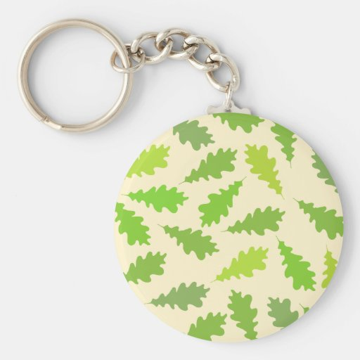 Pattern of Green Leaves. Keychain