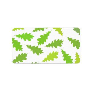 Pattern of Green Leaves. Address Label