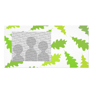 Pattern of Green Leaves. Photo Card Template