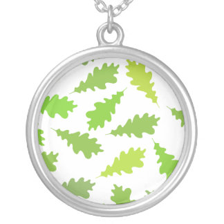 Pattern of Green Leaves. Round Pendant Necklace