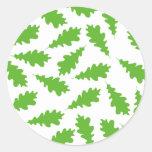 Pattern of Green Leaves. Round Sticker