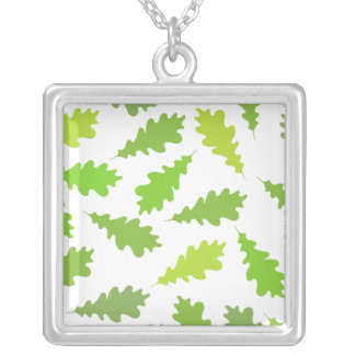 Pattern of Green Leaves. Square Pendant Necklace