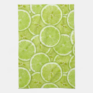 Pattern Of Green Lime Slices Kitchen Towels