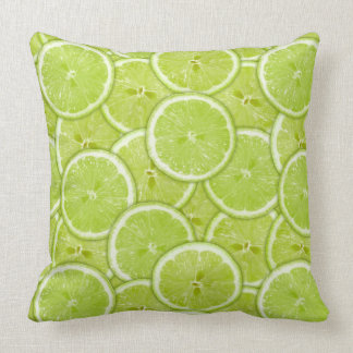 Pattern Of Green Lime Slices Throw Pillow