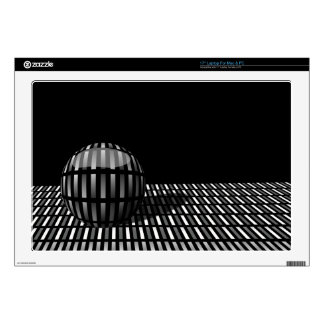 """Pattern of grey rectangles with with a ball on a decal for 17"""" laptop"""