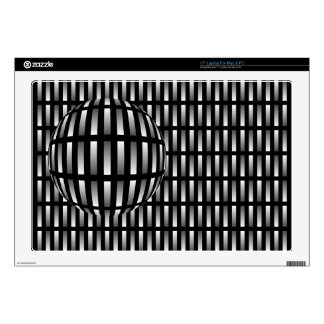 Pattern of grey rectangles with with a ball on a laptop decal