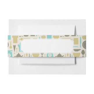 Pattern Of Kitchen Tools Invitation Belly Band