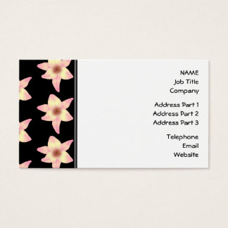 Pattern of Lily Flowers on Black. Business Card
