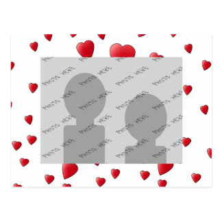 Pattern of Love Hearts in Red and White Postcard