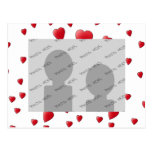 Pattern of Love Hearts in Red and White Postcards