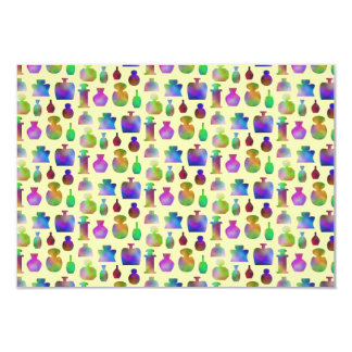 Pattern of Many Colorful Perfume Bottles. Card