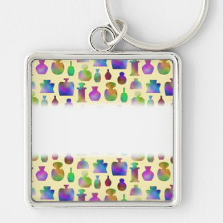 Pattern of Many Colorful Perfume Bottles. Keychain