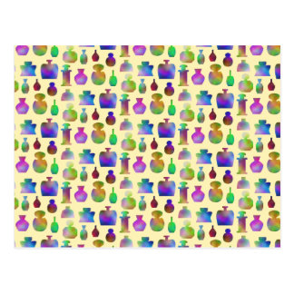 Pattern of Many Colorful Perfume Bottles. Post Cards