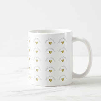pattern of names and golden love hearts coffee mug
