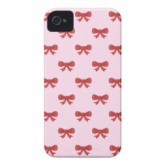 Pattern of nice red bows on pretty pink background iPhone 4 case