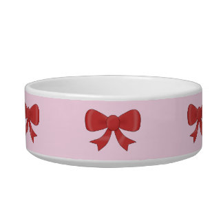 Pattern of nice red bows on pretty pink background pet bowl