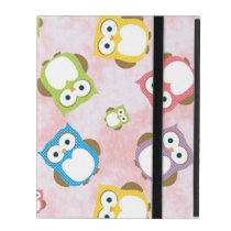 Pattern Of Owls, Colorful Owls - Green Blue Purple iPad Case