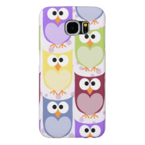 Pattern Of Owls, Colorful Owls - Green Blue Purple Samsung Galaxy S6 Case
