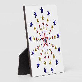 Pattern of Patriotic Stars Display Plaque
