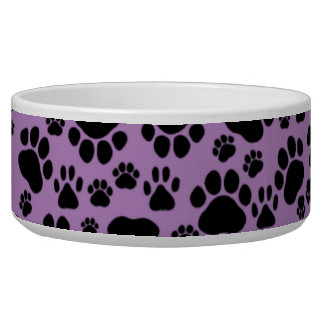 Pattern Of Paws, Dog Paws, Traces - Purple Black Bowl