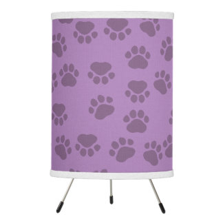 Pattern Of Paws, Dog Paws, Traces - Purple Tripod Lamp