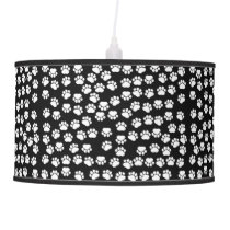 Pattern Of Paws, Dog Paws, Traces - White Black Ceiling Lamp