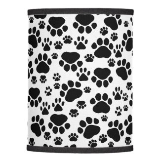 Pattern Of Paws, Dog Paws, Traces - White Black Lamp Shade
