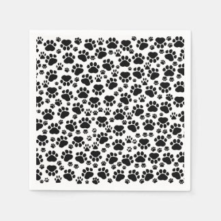 Pattern Of Paws, Dog Paws, Traces - White Black Paper Napkin