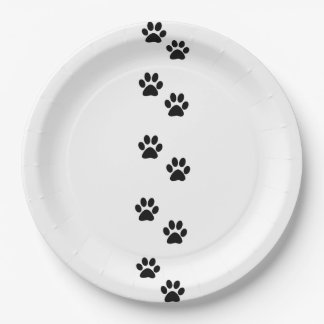 Pattern Of Paws, Dog Paws, Traces - White Black Paper Plate