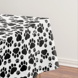 Pattern Of Paws, Dog Paws, Traces - White Black Tablecloth