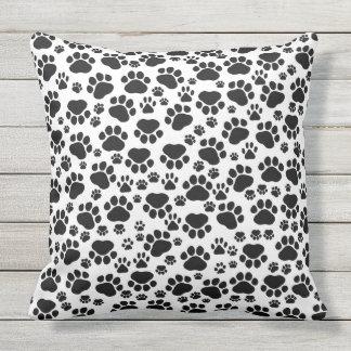 Pattern Of Paws, Dog Paws, Traces - White Black Throw Pillow